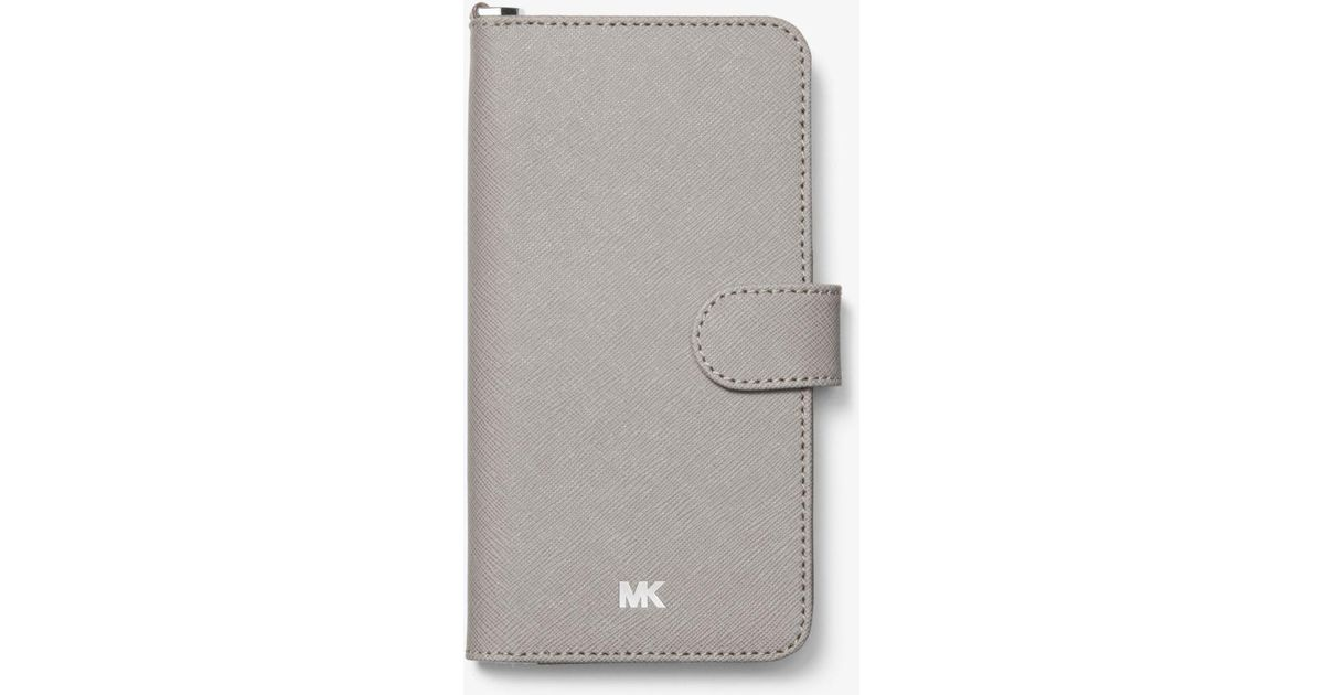 d3fa0681910d Lyst - Michael Kors Saffiano Leather Folio Case For Iphone 7 8 Plus in Gray