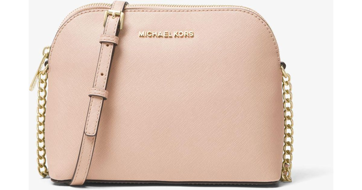 99bade3ea6a4 Michael Kors Cindy Large Saffiano Leather Crossbody Bag in Pink - Lyst