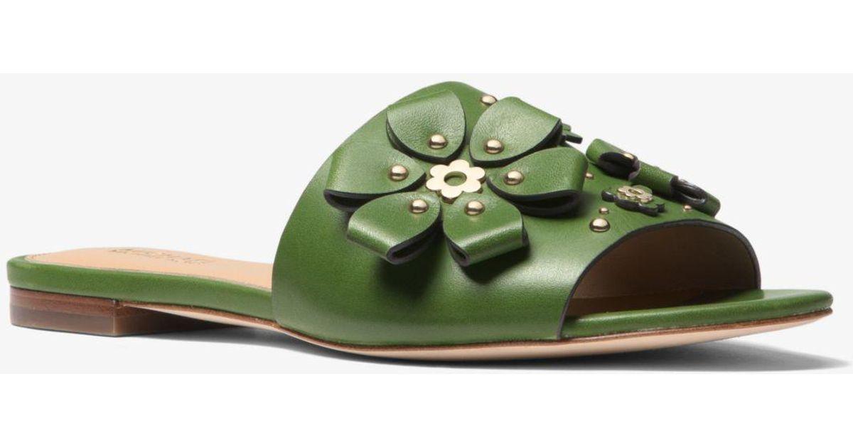 aafb569ad66 Lyst - Michael Kors Tara Floral Embellished Leather Slide in Green