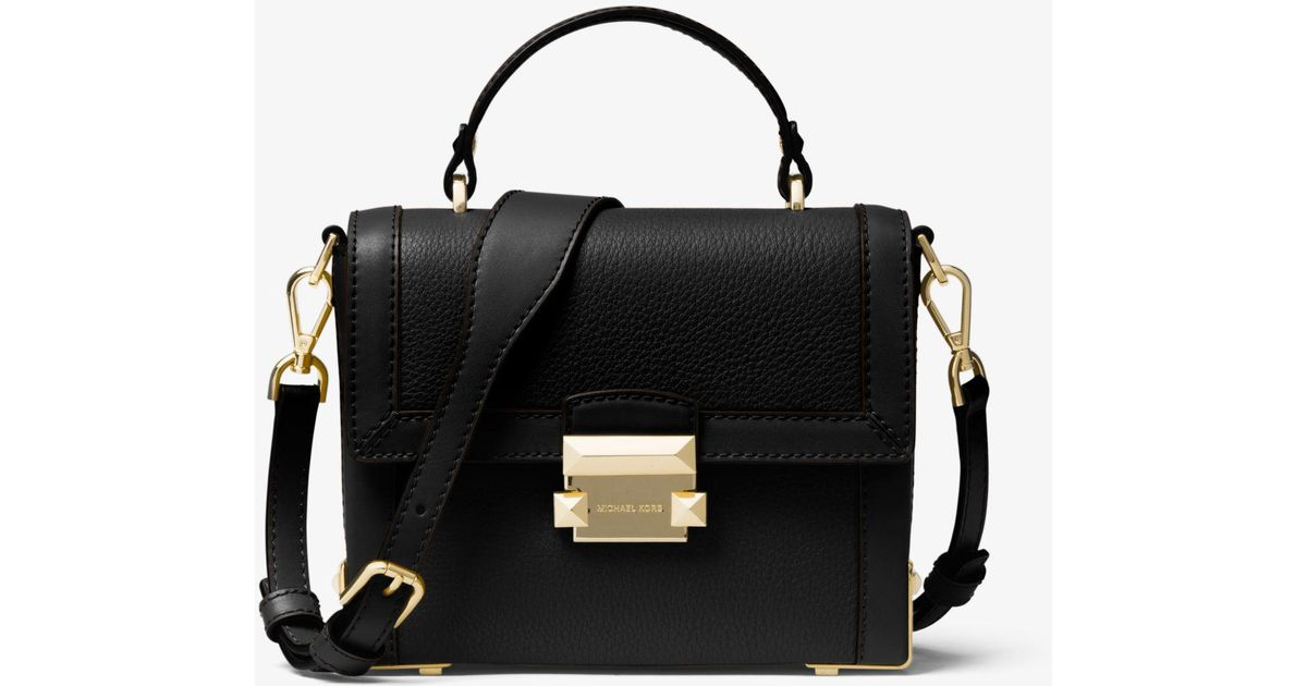 85788def2428 Lyst - Michael Kors Jayne Small Pebbled Leather Trunk Bag in Black