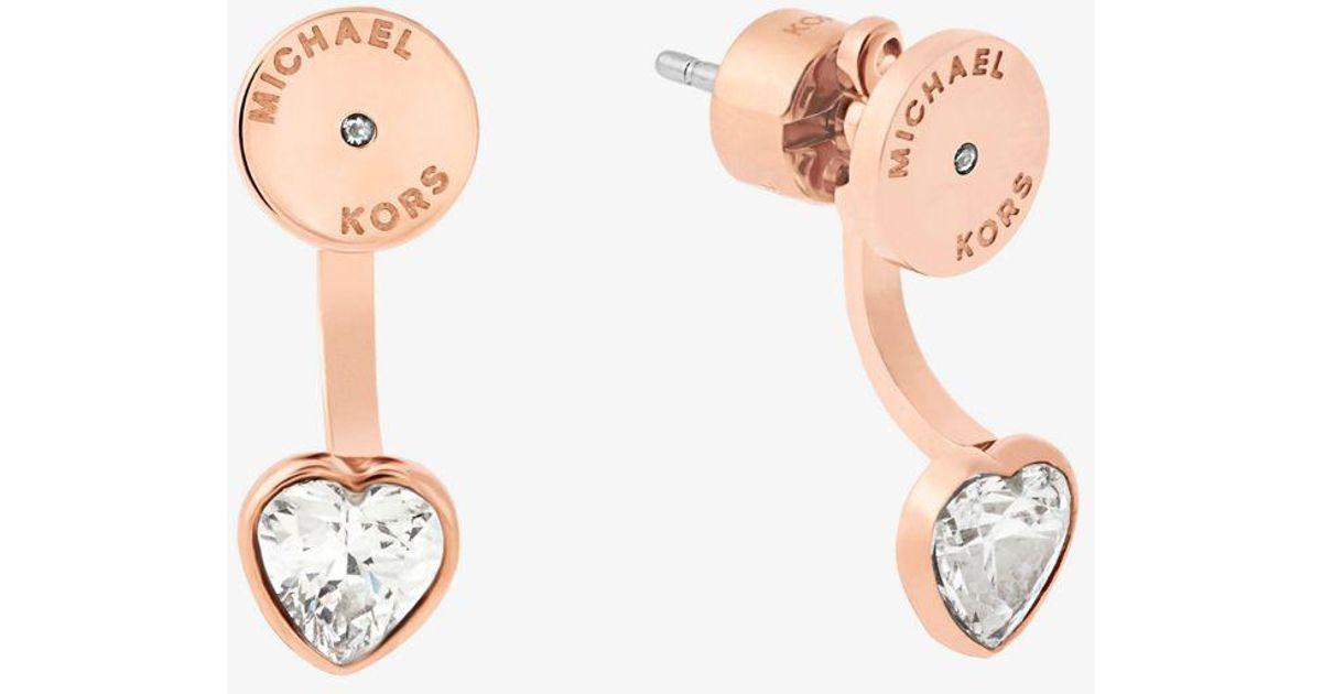 0787f5526 Michael Kors Rose Gold-tone Heart Drop Earrings in Pink - Lyst