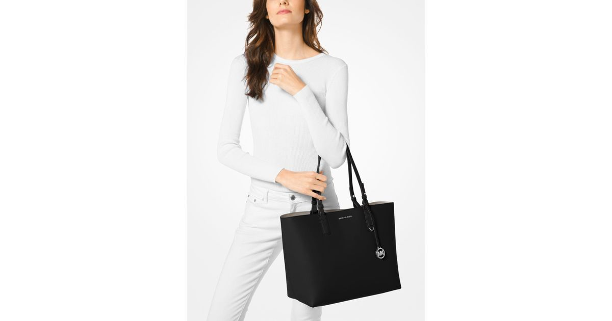 f59d668c716205 Michael Kors Cameron Large Leather Reversible Tote in Black - Lyst