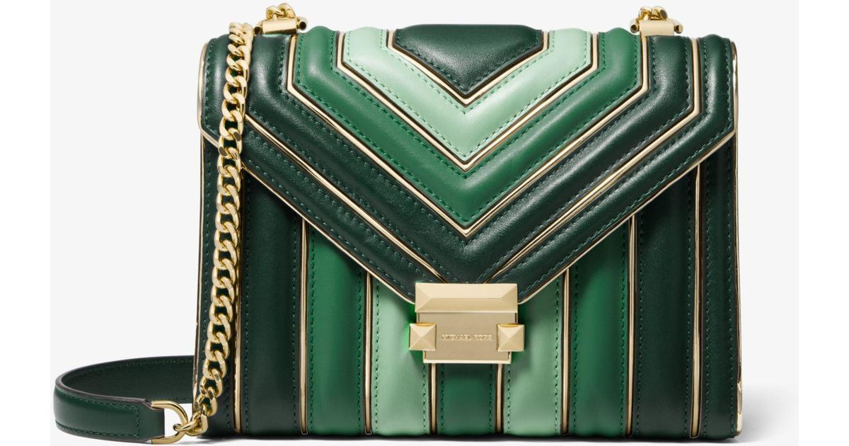 1c6553f87a05 Michael Kors Whitney Large Quilted Tri-color Leather Convertible Shoulder  Bag in Green - Lyst