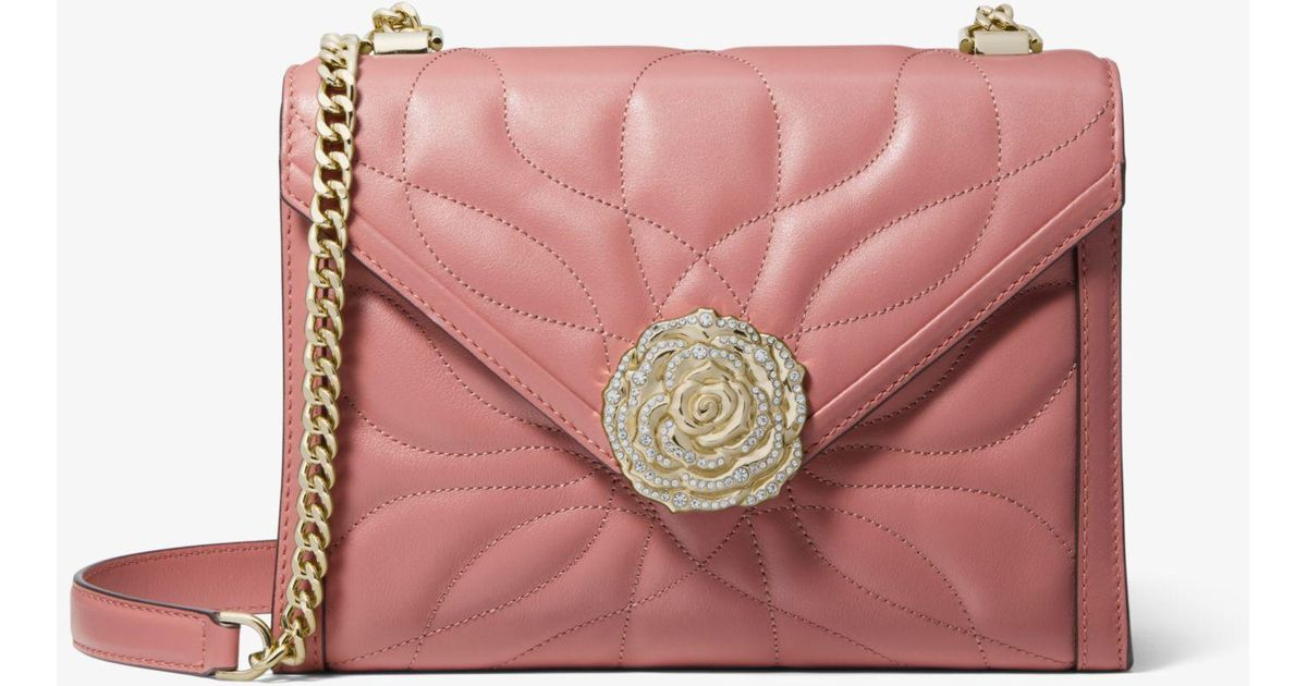 03b55b4df58e Michael Kors Whitney Large Petal Quilted Leather Convertible Shoulder Bag  in Pink - Save 25% - Lyst