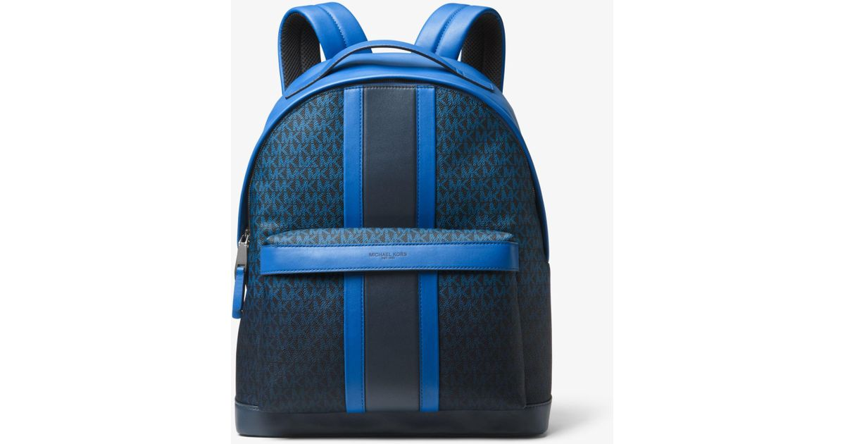 e956b89cd6a11 ... wythe large perforated leather backpack in black 389eb 9814f  discount lyst  michael kors odin logo stripe backpack in blue for men 880fb dd3c6