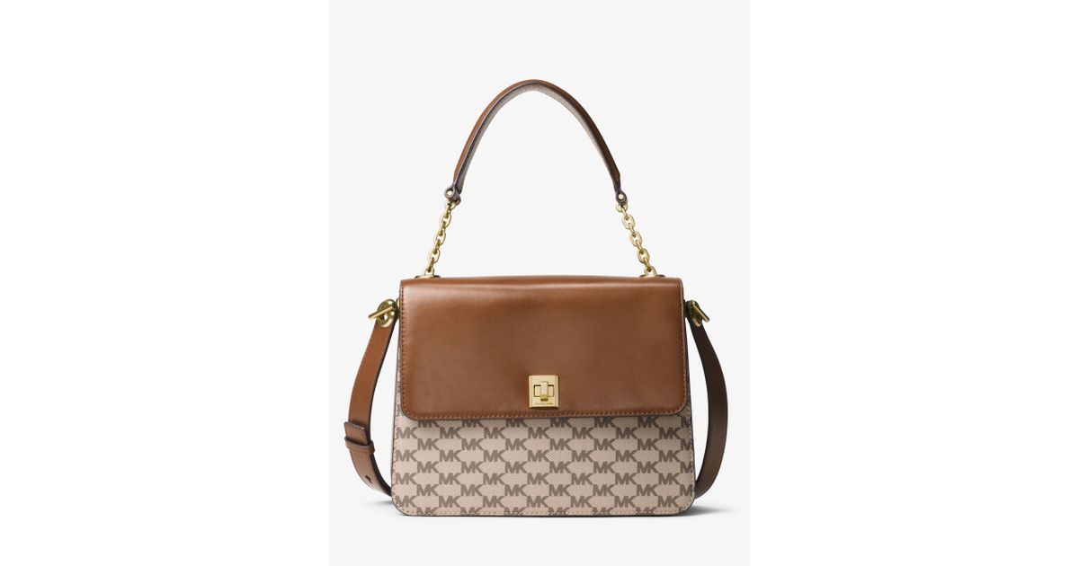 d40fd1b196a5 where can i buy lyst michael kors natalie large heritage signature satchel  in natural c752d 25e56