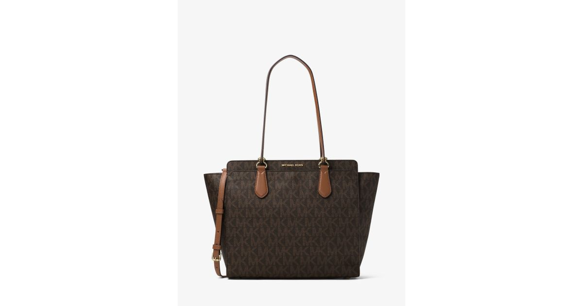908909e27c7f Michael Kors Dee Dee Large Convertible Logo Tote in Brown - Lyst