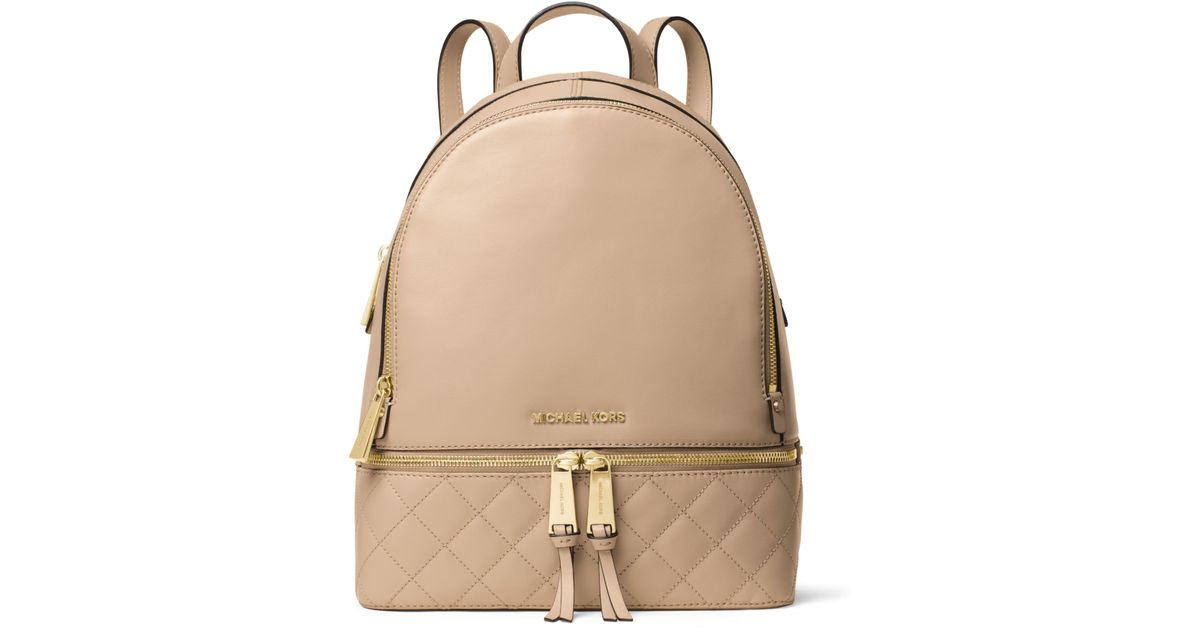 b53540ef9f42 Lyst - Michael Kors Rhea Medium Quilted-leather Backpack in Natural