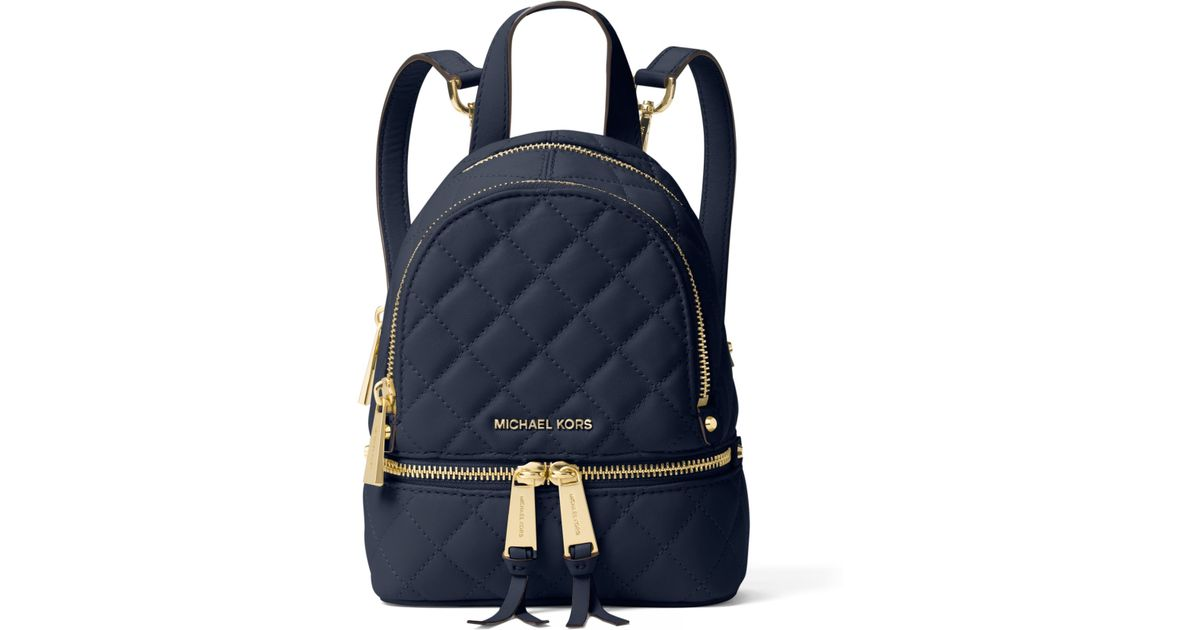 ... norway lyst michael kors rhea extra small quilted leather backpack in  blue a2328 16ae3 58e5256bb2