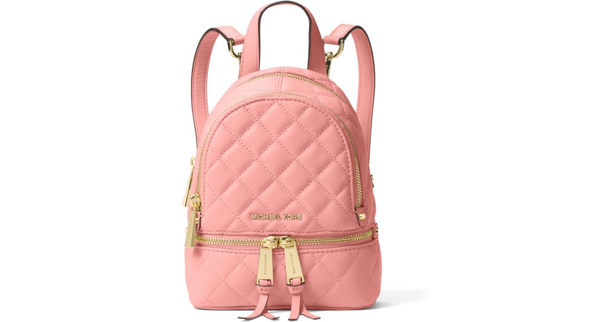 fb4f3ec8947e96 Michael Kors Rhea Extra-small Quilted-leather Backpack in Pink - Lyst