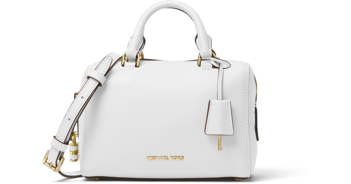 87f33fb5ed35 Lyst - Michael Kors Kirby Extra-small Leather Satchel in White