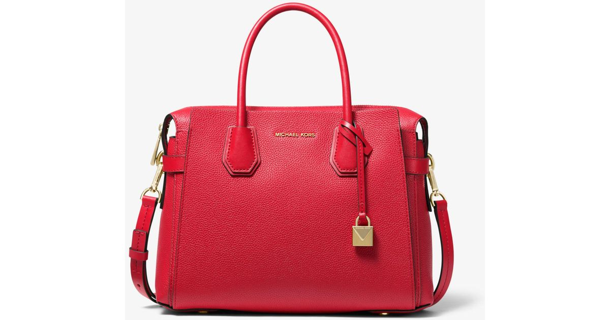 cf296372612e7a Michael Kors Mercer Medium Pebbled Leather Belted Satchel in Red - Lyst