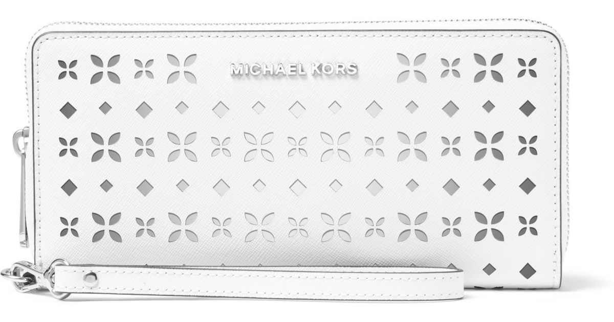 3f05ef70b2d4 Lyst - Michael Kors Jet Set Travel Perforated-leather Continental Wallet