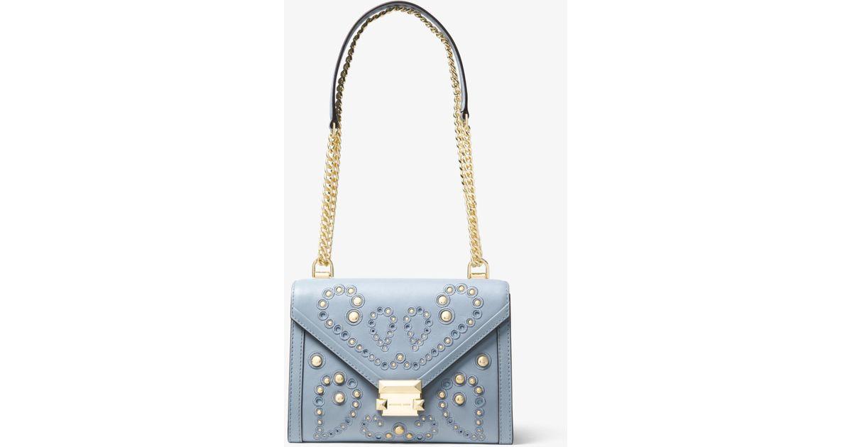 1a81818d54d6 Lyst - Michael Kors Whitney Large Embellished Leather Convertible Shoulder  Bag in Blue