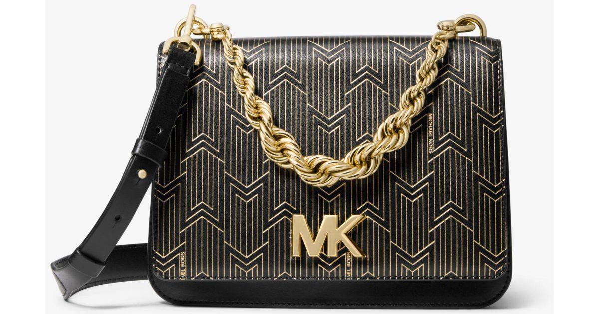 647705fad79b0 Lyst - Michael Kors Mott Large Metallic Deco Leather Crossbody Bag in Black