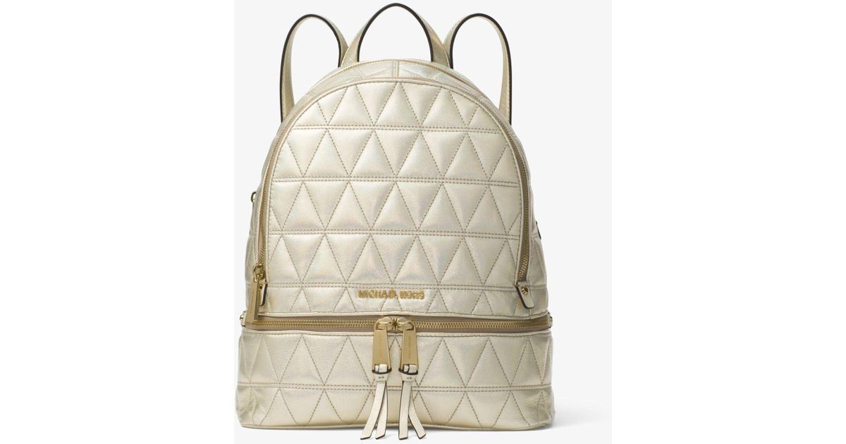 2c38fafe593b6 Michael Kors Michael Rhea Mini Metallic Quilted Leather Backpack In Pale  Gold
