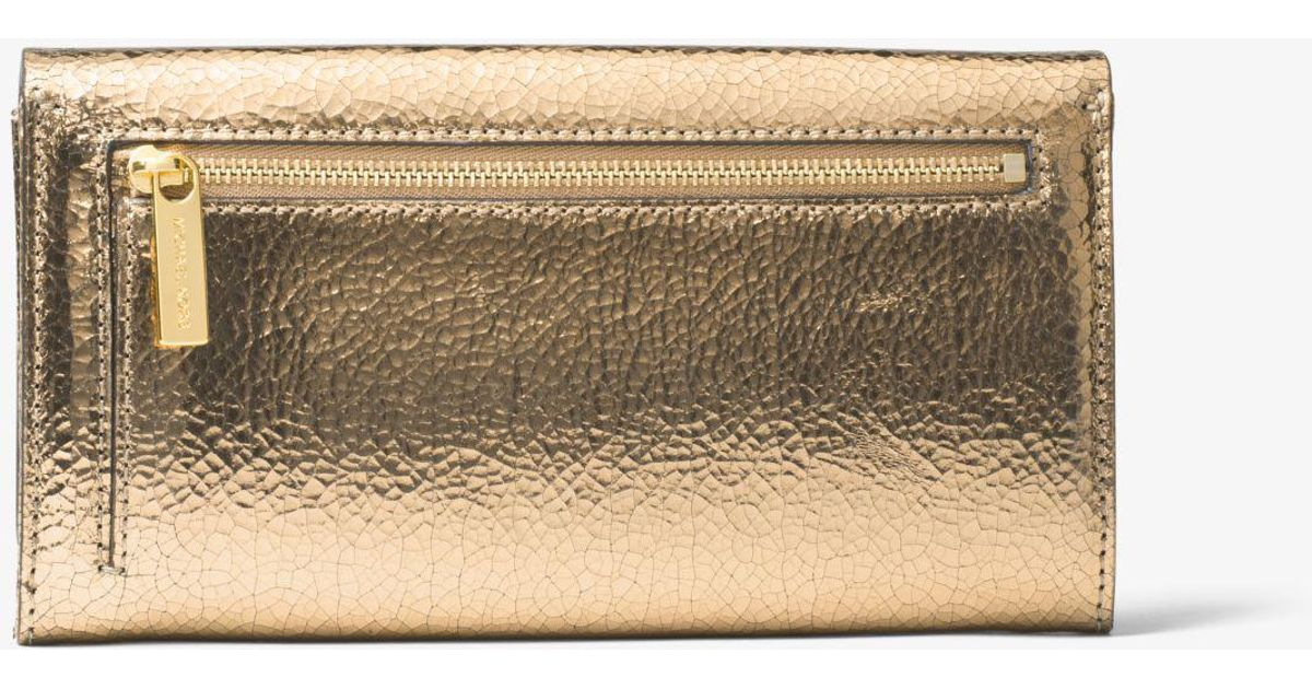 53120fad042f Michael Kors Bancroft Crackled Metallic Leather Continental Wallet in  Metallic - Lyst