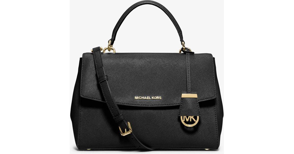 bae9088788a0a ... leather cross body bag fb438 0625d  aliexpress lyst michael kors ava  small saffiano crossbody satchel in black fbc73 2a753
