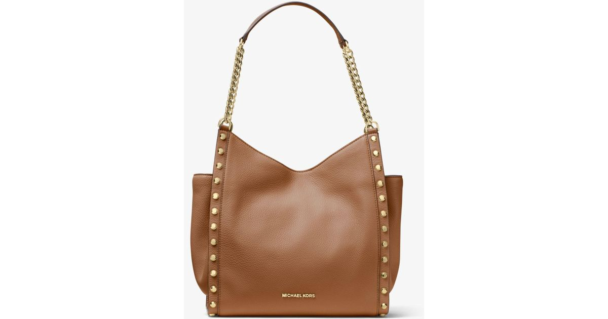 24592e2004bbb2 Michael Kors Newbury Studded Pebbled Leather Chain Tote Bag in Brown - Lyst