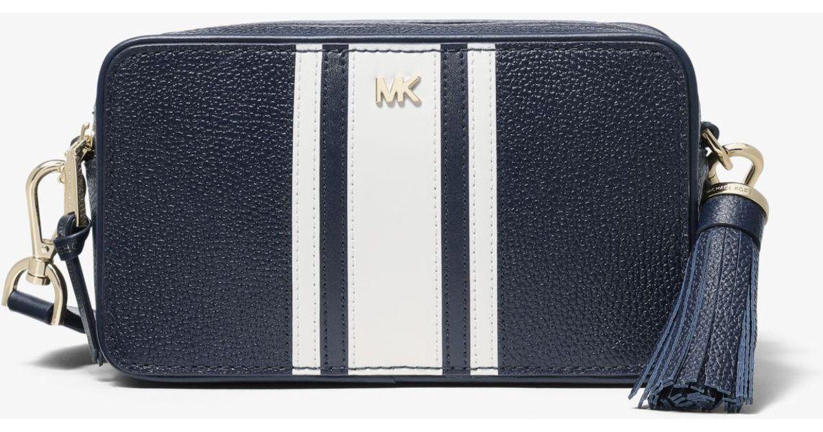 c9d8cc3cc Michael Kors Small Logo Tape Camera Bag in Blue - Lyst