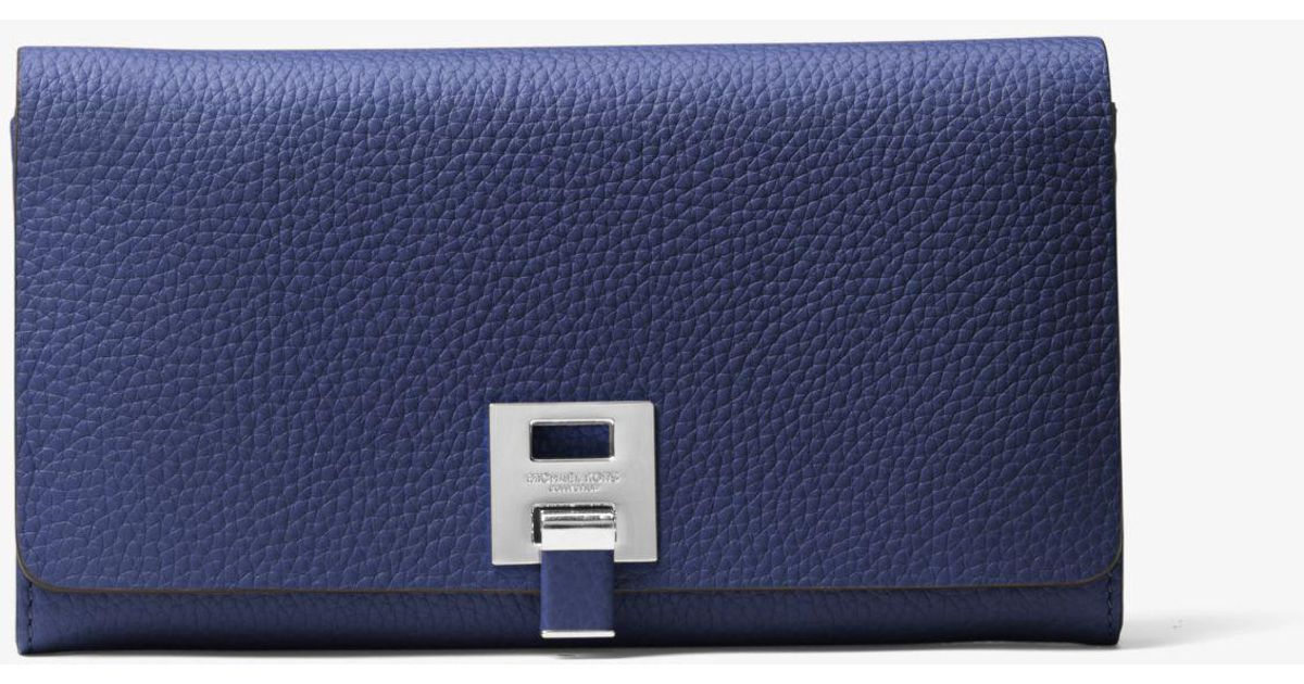 51d52a5db7f4 Michael Kors Bancroft Pebbled Calf Leather Continental Wallet in Blue - Lyst