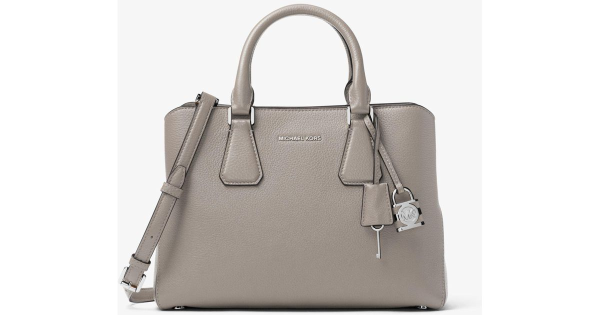 890074a7bc1b Lyst - Michael Kors Camille Leather Satchel in Gray