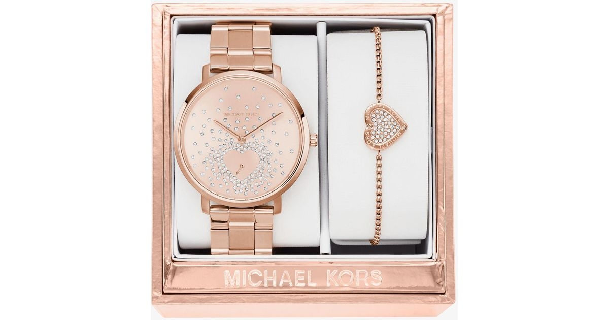 Michael Kors Jaryn Rose Gold Tone Watch And Bracelet Set In Metallic
