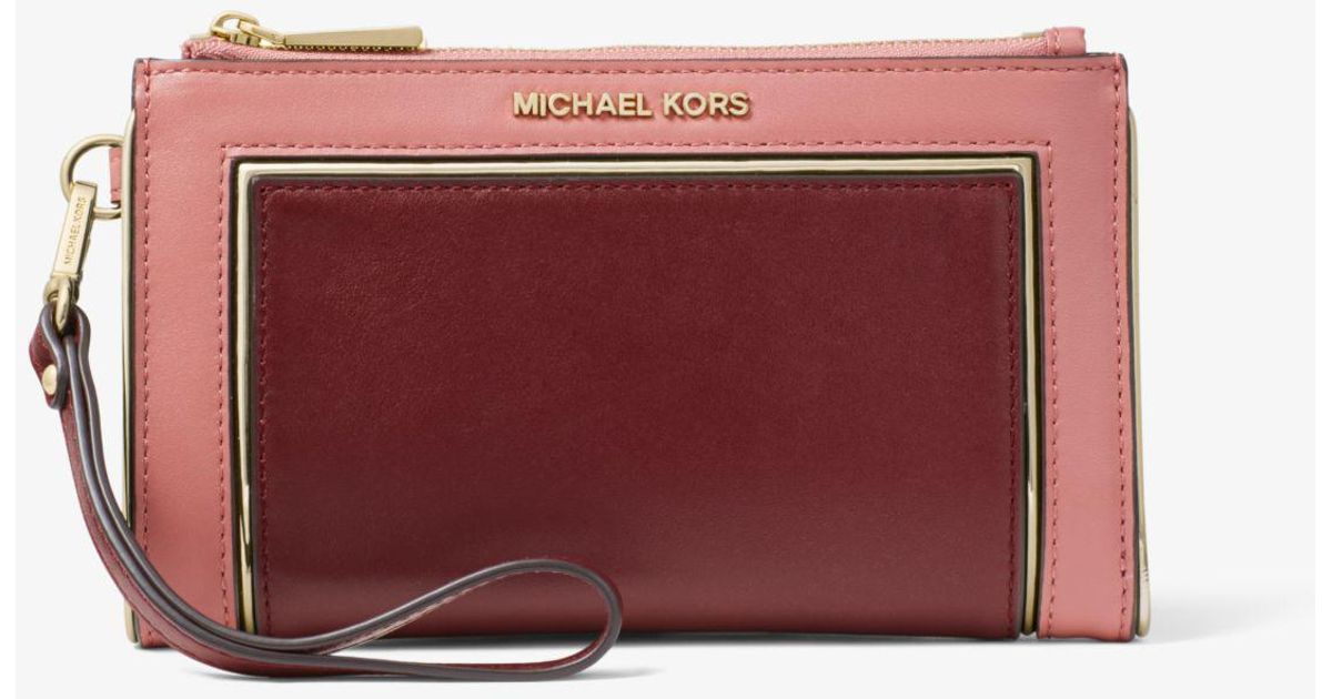 Lyst - Michael Kors Adele Two-tone Leather Smartphone Wallet 96cdf99073ea0