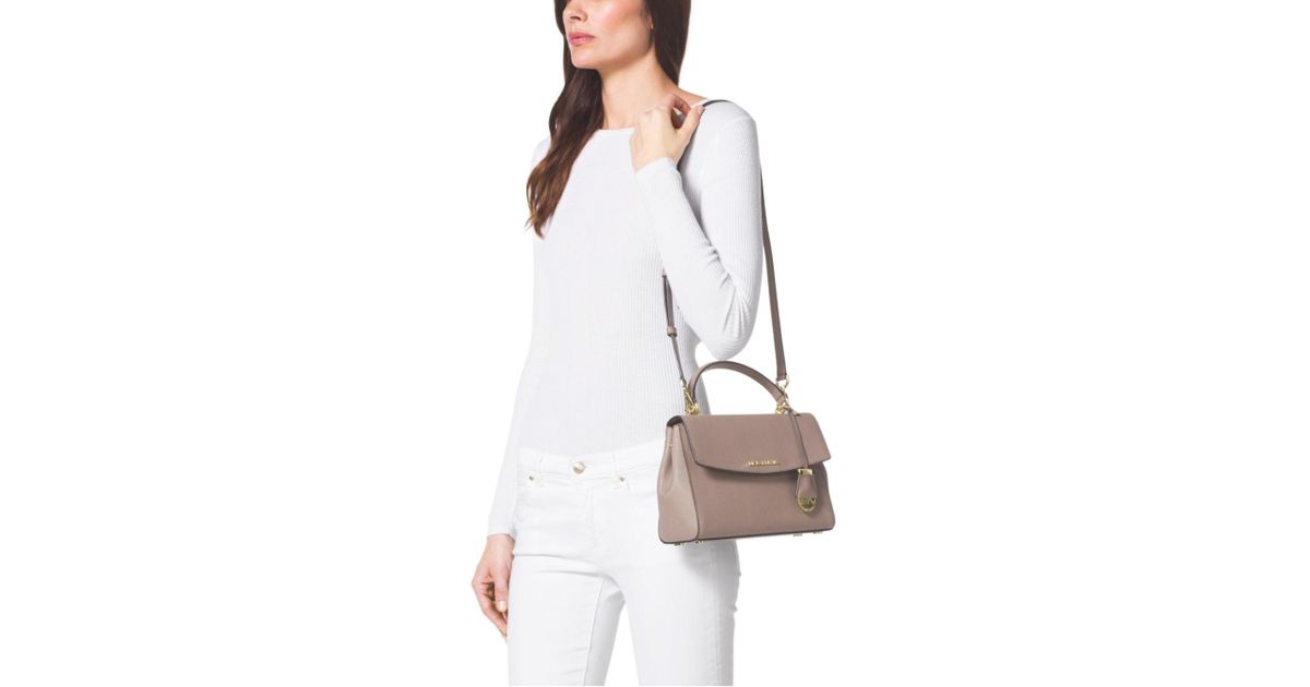b4fd462fe2298 Lyst - Michael Kors Ava Small Saffiano Leather Crossbody Bag in Gray