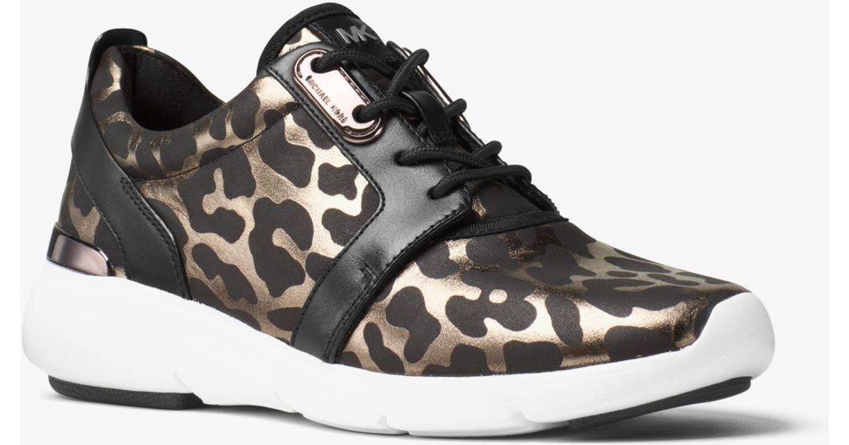 ff37864ac547 Michael Kors Amanda Animal-Print Low-Top Sneakers in Black - Lyst