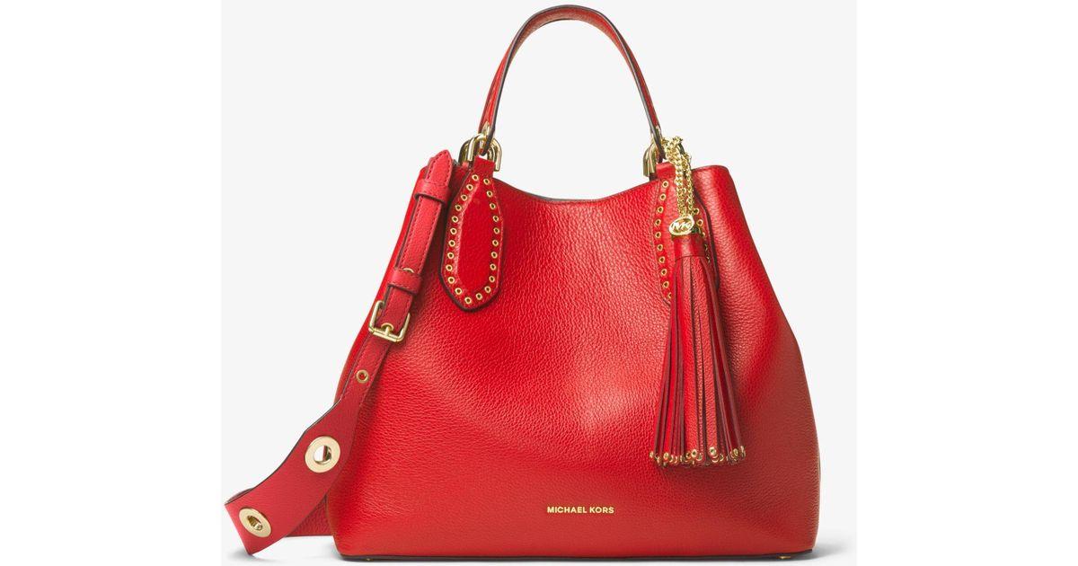 Grand sac à main Brooklyn en cuir Michael Kors en coloris Red