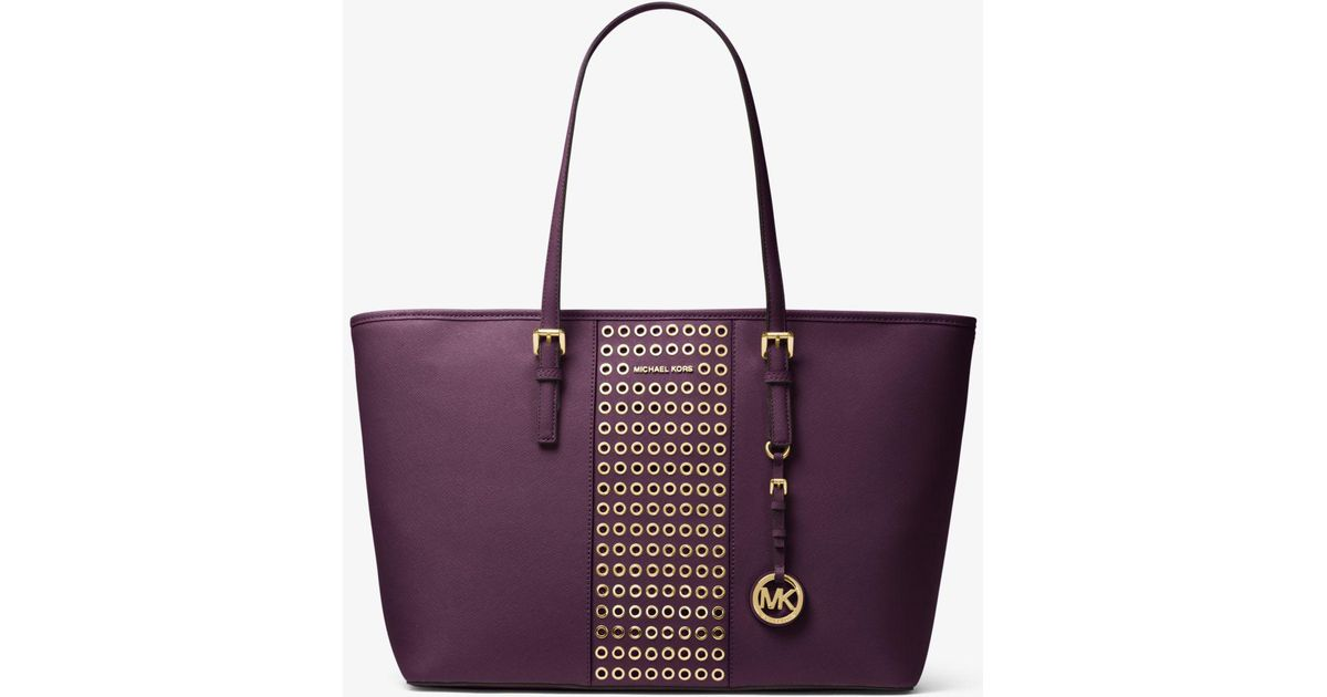 71fe1fda0193 Lyst - Michael Kors Jet Set Travel Grommeted Saffiano Leather Tote in Purple