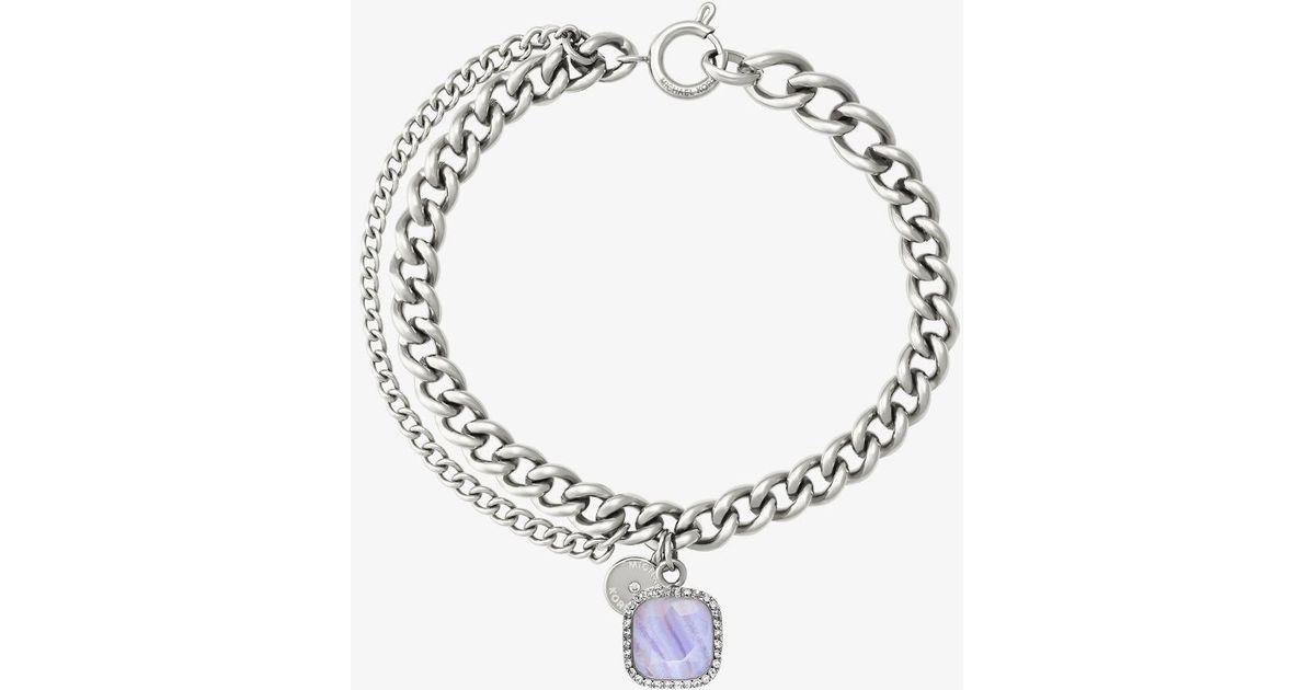 Lyst Michael Kors Silver Tone Blue Lace Agate Stone Charm Bracelet In Metallic