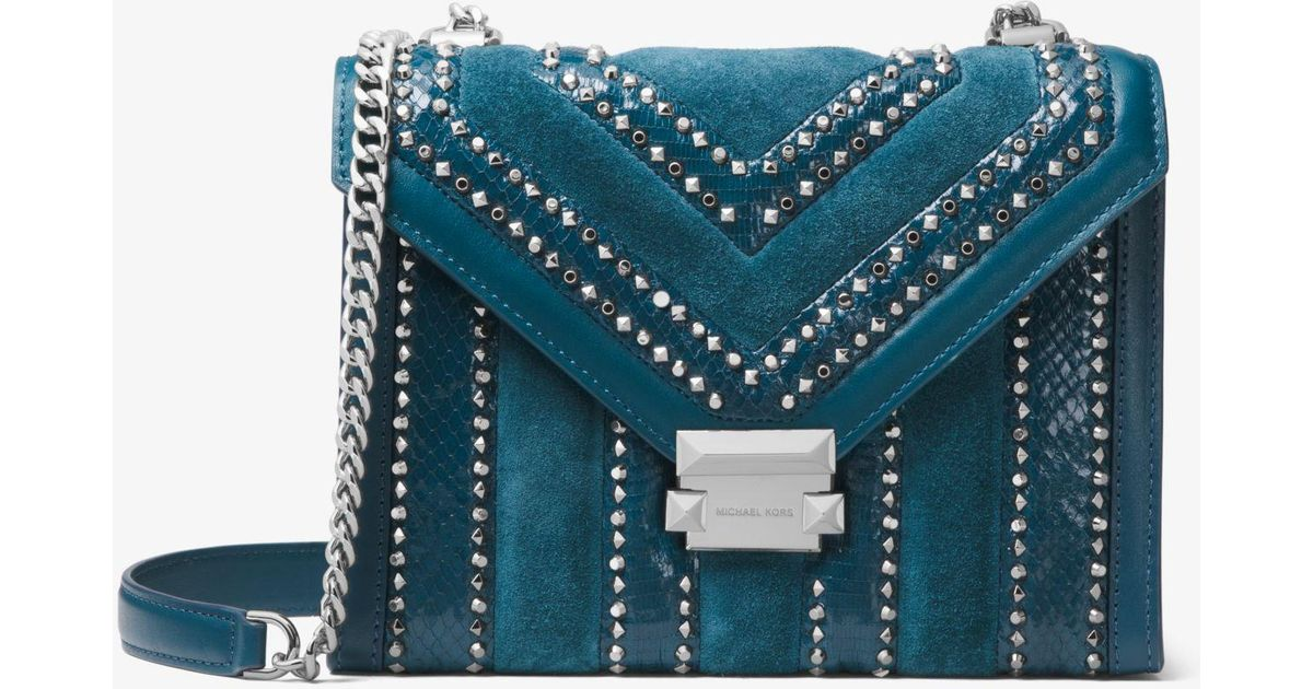 122d9888eee7 Lyst - Michael Kors Whitney Large Mixed-media Convertible Shoulder Bag in  Blue