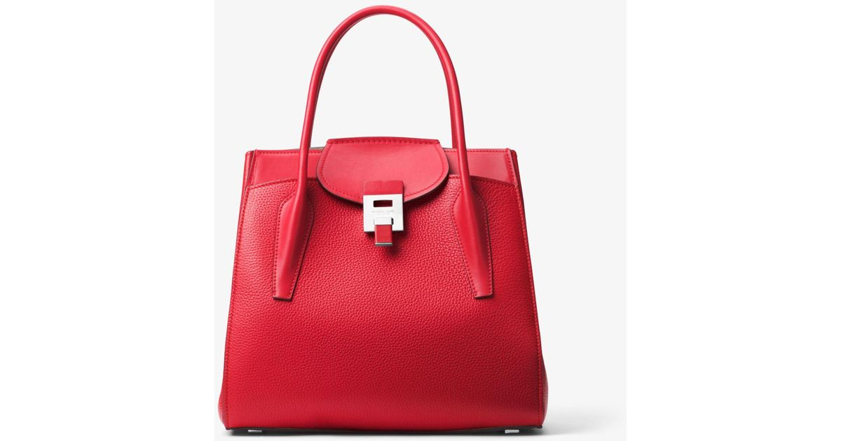 c435115a64c4 Michael Kors Bancroft Large Pebbled Calf Leather Satchel in Red - Lyst