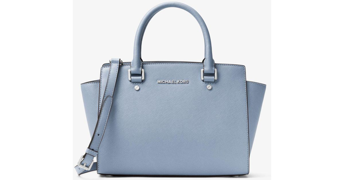 ac5703d89c06 ... inexpensive lyst michael kors selma medium saffiano leather satchel in  blue dad18 bc1f7