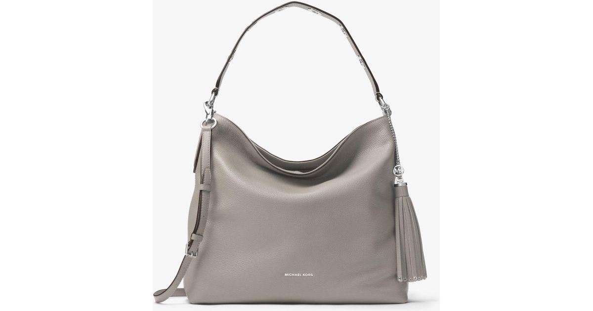 25b513b70293 Michael Kors Brooklyn Large Leather Shoulder Bag in Gray - Lyst