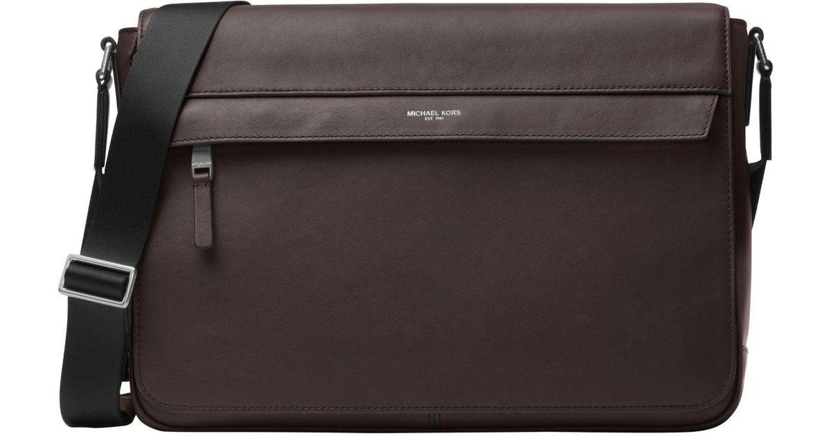 560f46922860 Michael Kors Odin Large Leather Messenger in Brown for Men - Lyst