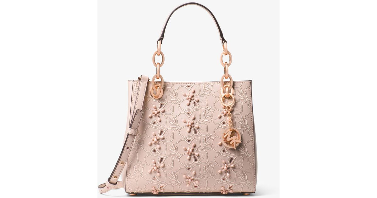 07832816713b ... purchase lyst michael kors cynthia small floral embroidered leather  satchel in pink c25d3 c4f30
