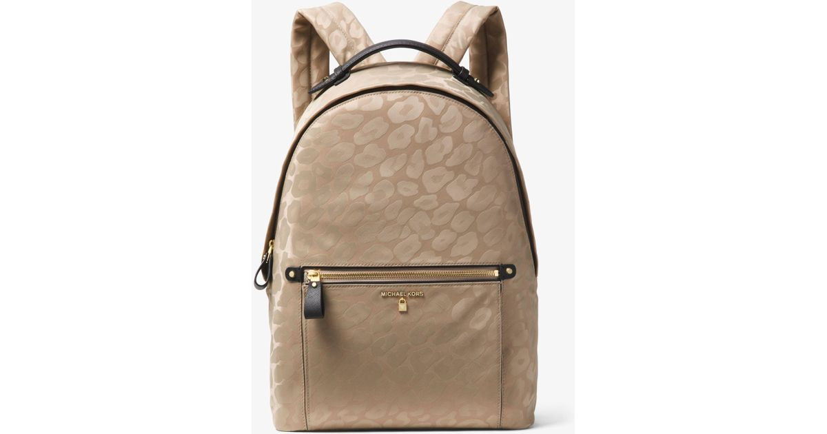 ca0ed64dc5a57 Lyst - Michael Kors Kelsey Large Leopard Nylon Backpack