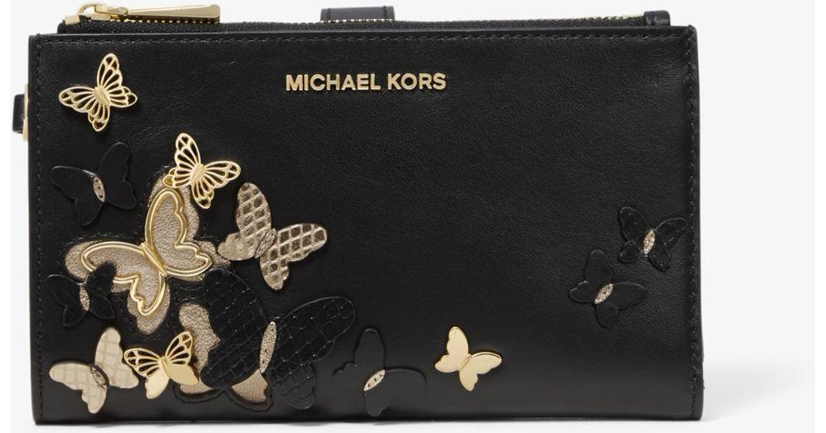 6108e4422cffcf MICHAEL Michael Kors Adele Butterfly Embellished Leather Smartphone Wallet  in Black - Lyst