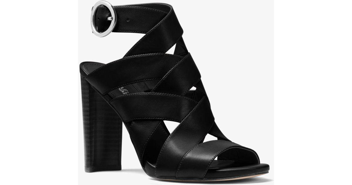 2f35a64f5940 Lyst - Michael Kors Alana Leather Sandal in Black