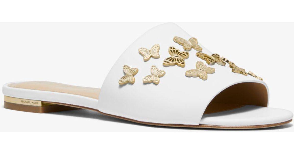 12b9b22de4d Michael Kors White Lacey Butterfly Embellished Leather Slide Sandal
