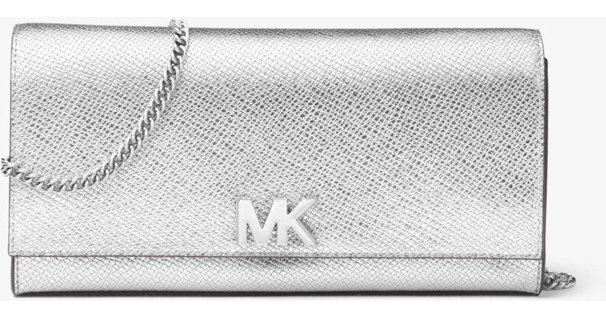 feffa2cdd5f8 Michael Kors Mott Metallic Leather Chain Wallet in Metallic - Lyst