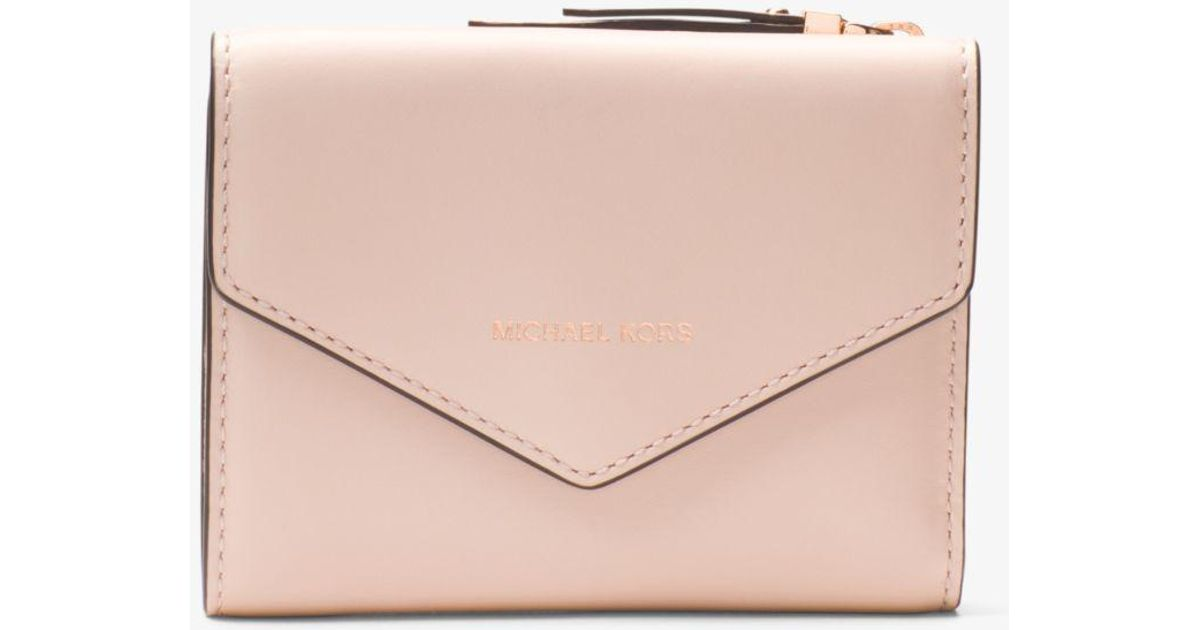 dcde1cf05015 Lyst - Michael Kors Small Leather Envelope Wallet in Pink