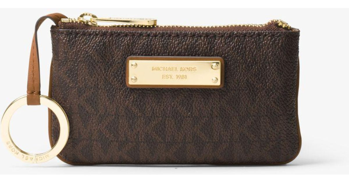 619725a97b0c Michael Kors Jet Set Travel Small Logo Key Pouch in Brown - Lyst