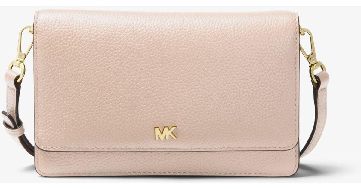 e1c7deff8ee3 Michael Kors Pebbled Leather Convertible Crossbody Bag in Pink - Lyst