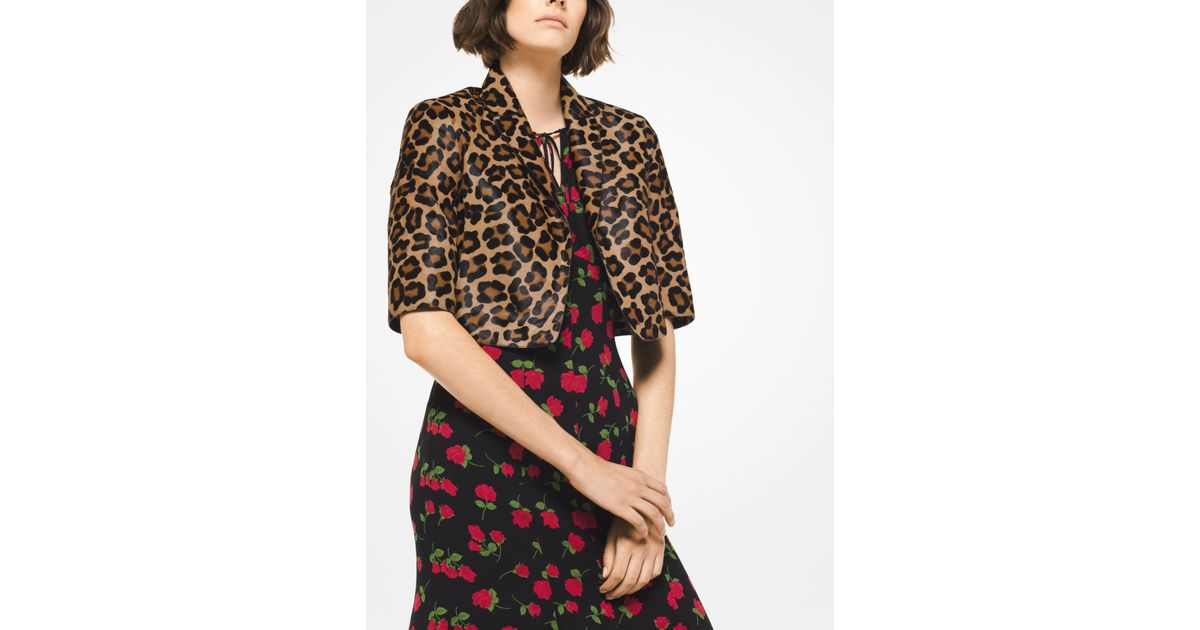 1d3d42147a10 Michael Kors Leopard Calf Hair Bolero Jacket - Lyst
