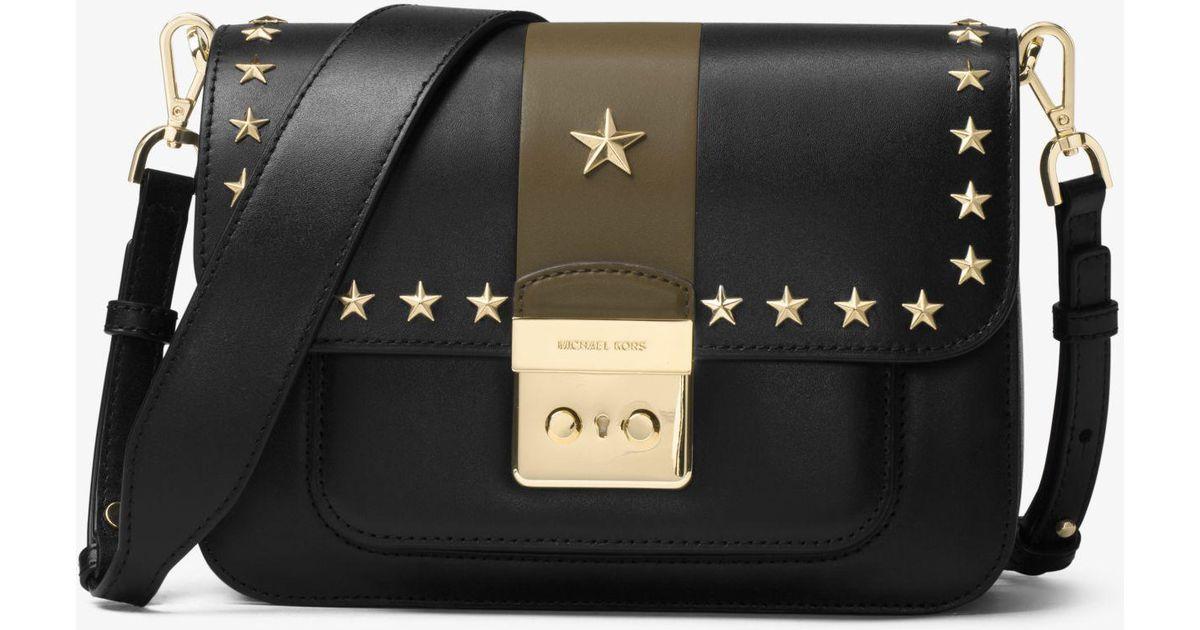 856d8e79c0467c Michael Kors Sloan Editor Studded Leather Shoulder Bag in Black - Lyst