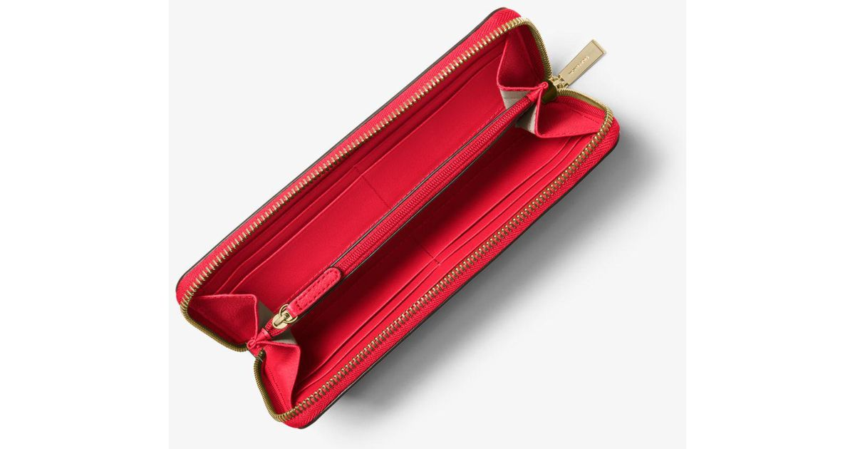 16b96eb2c38f Michael Kors Sutton Saffiano Leather Continental Wallet in Red - Lyst